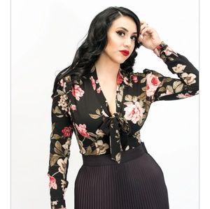 Elsa Blouse - Black Blossom Retro Style